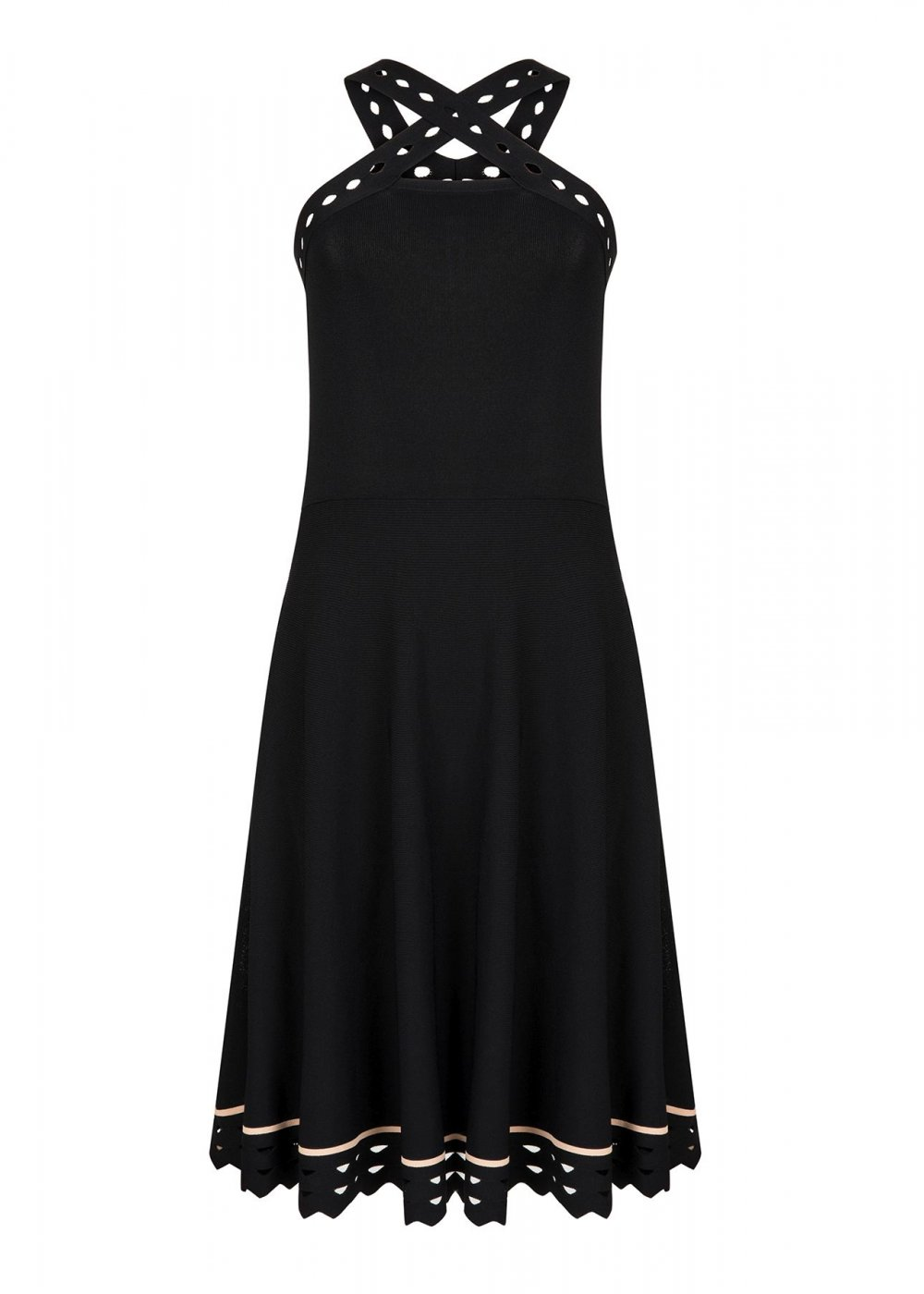 Sleeveless Cros Strap Black Knit Dress