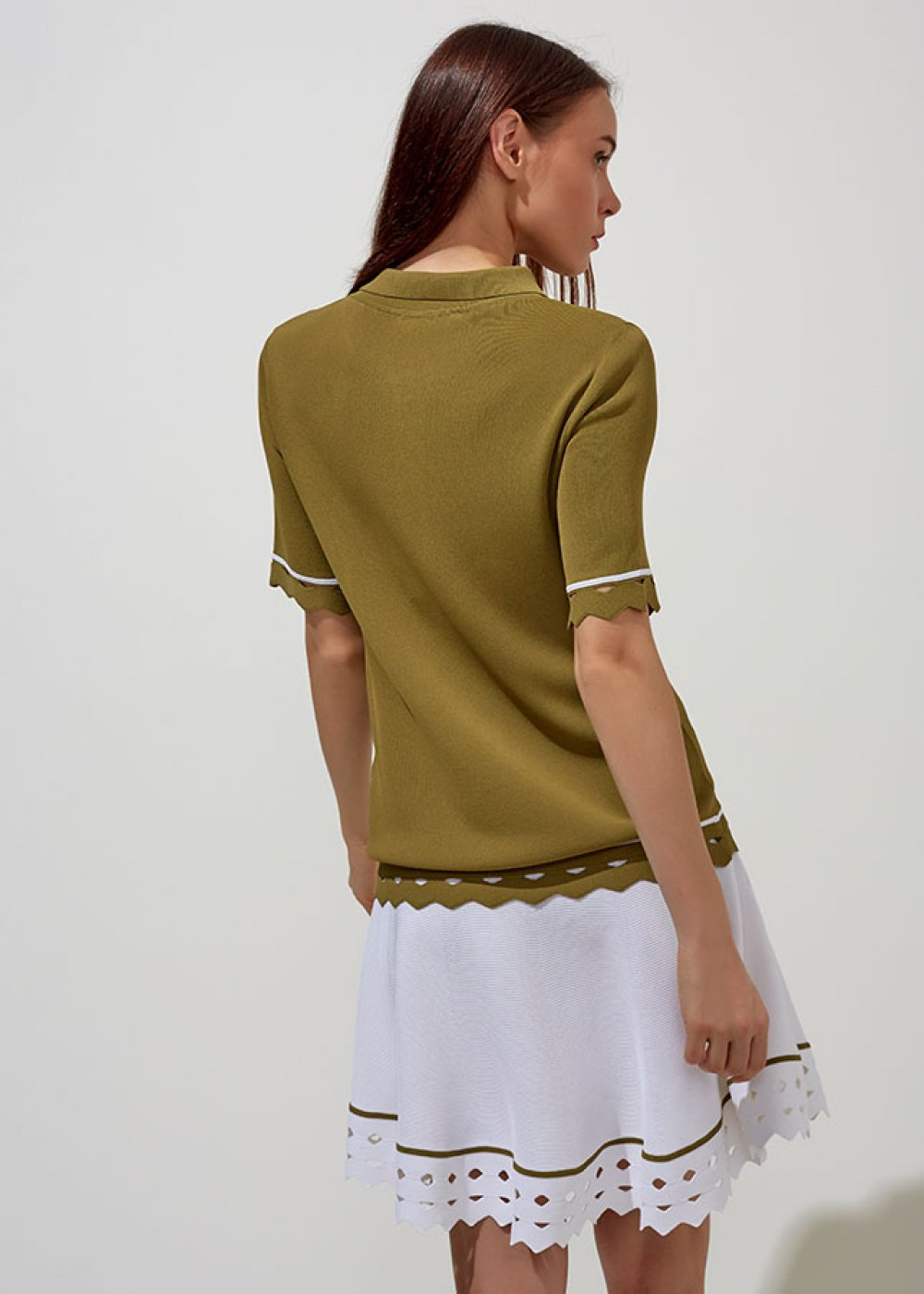 POLO NECK HEM DETAILTED HERB GREEN KNIT TOP
