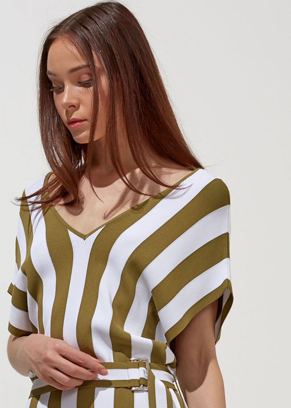 Cap Sleeve Mono Striped V Neck Herb Green Knit Dress