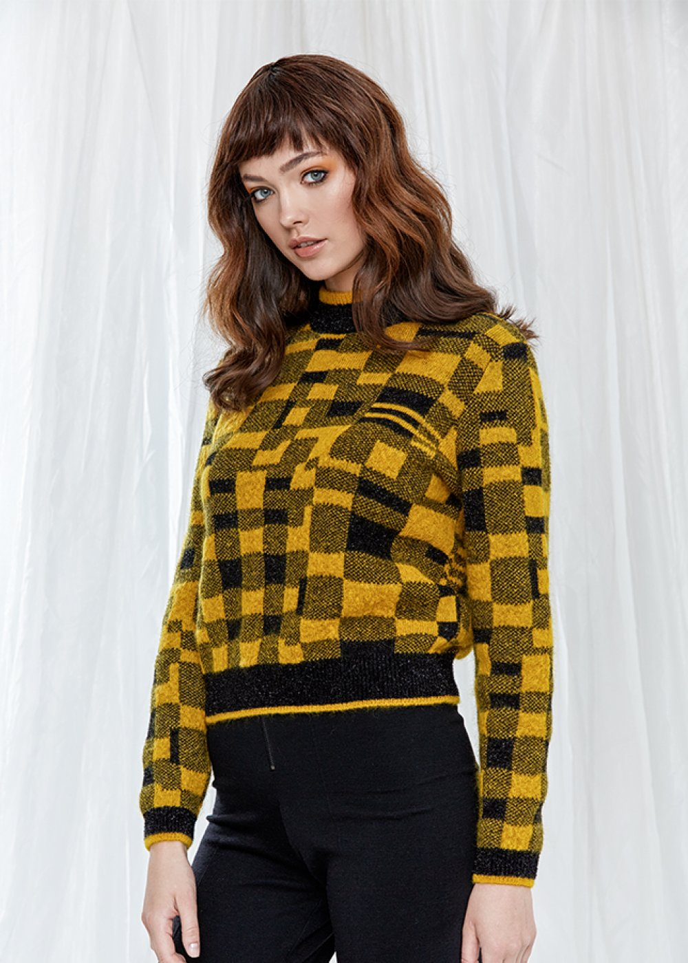Long Sleeve High Neck Yellow Sweater