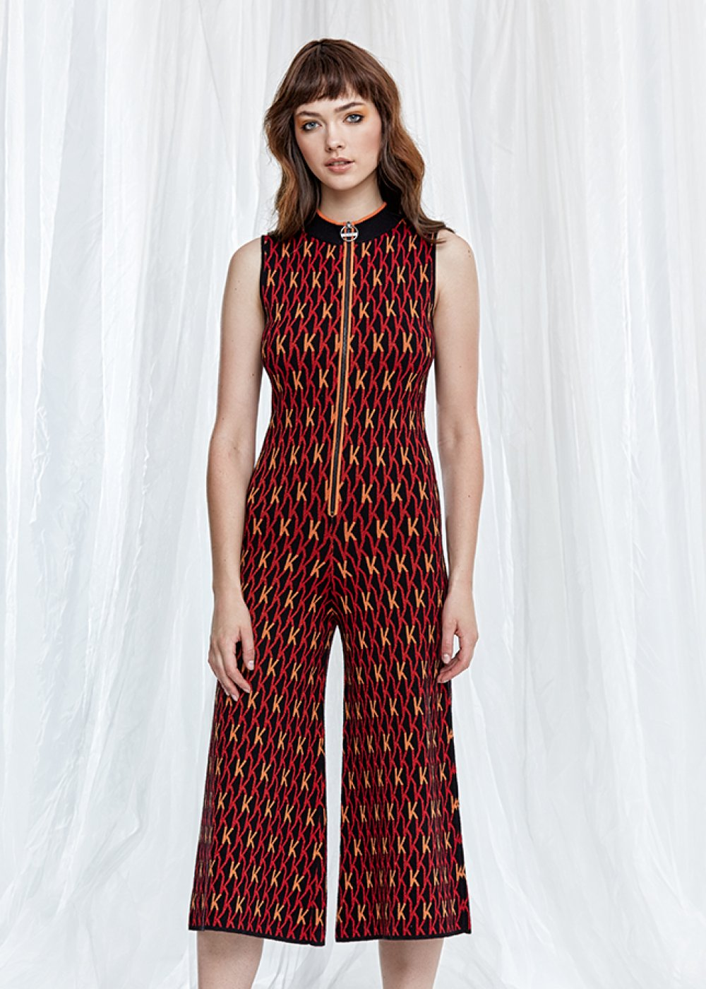 Patterned Sleeveless Knit Jumpsuit