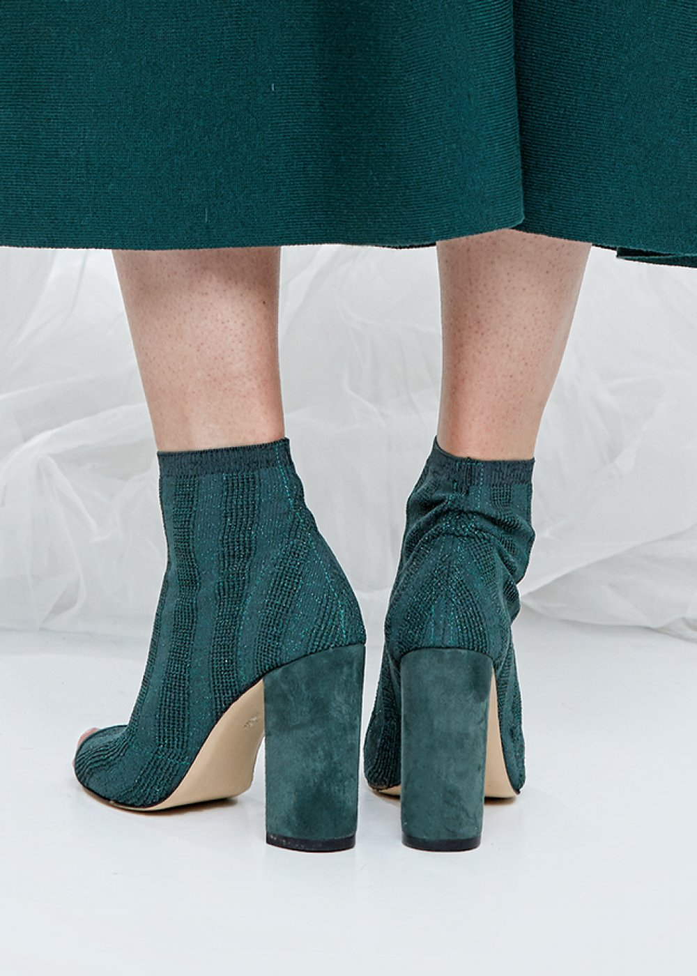 High Heels Ivy Green Knit Bootie