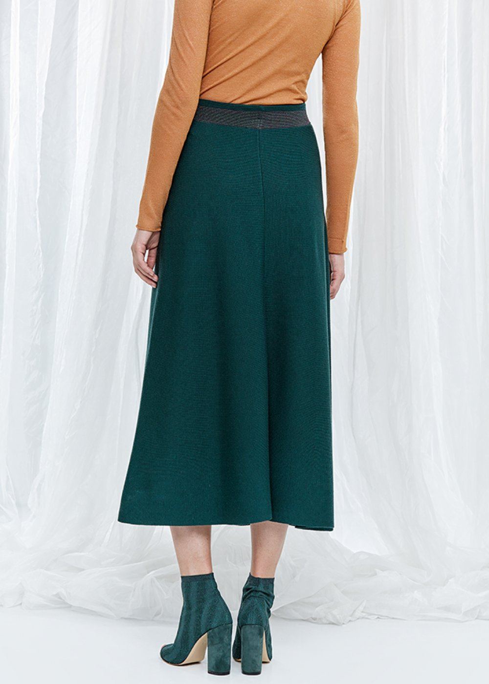 Wool Blend Ivy Green Maxi Knit Skirt