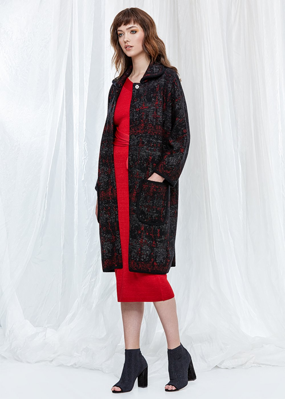 Patterned Wool Blend Black Knit Coat
