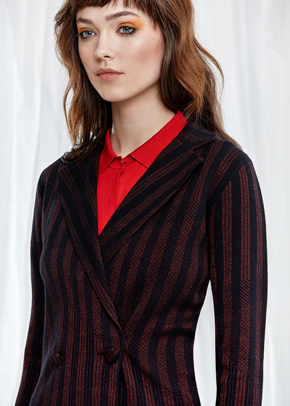 Long Sleeve Striped Double Breasted Knit Jacket