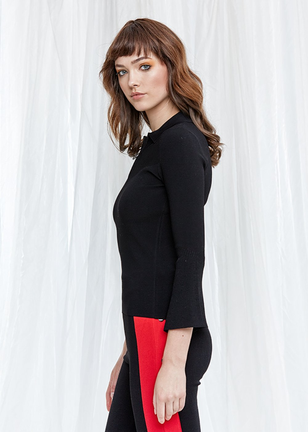 Bell Sleeve Black Knit Top