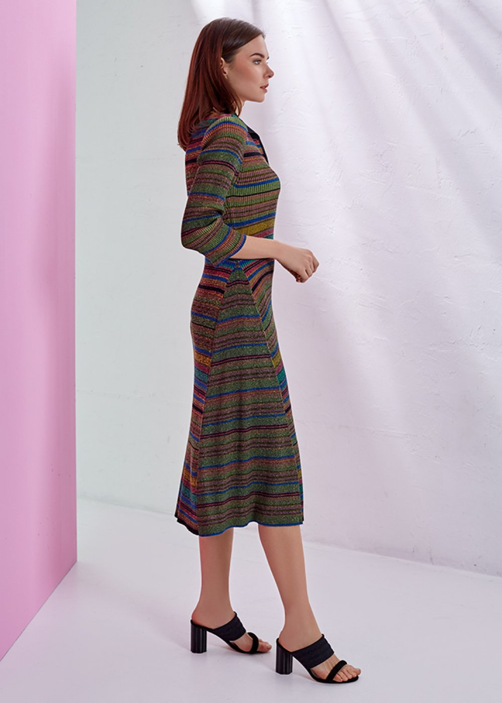 STRIPE PATTERNED POLO NECK KNIT DRESS