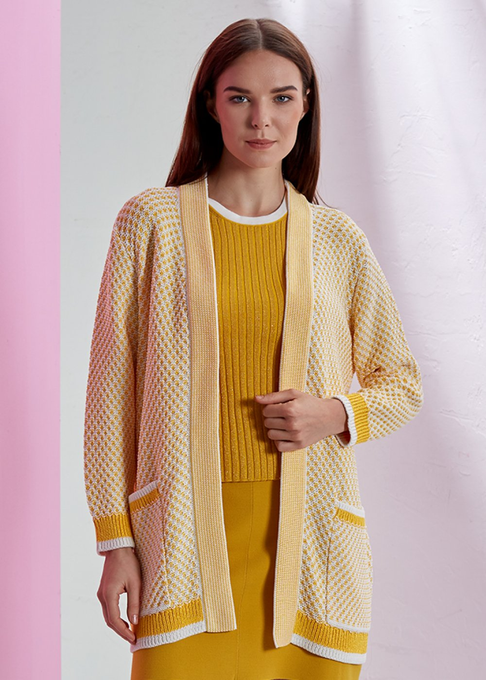 PATTERNED KNIT CARDIGAN