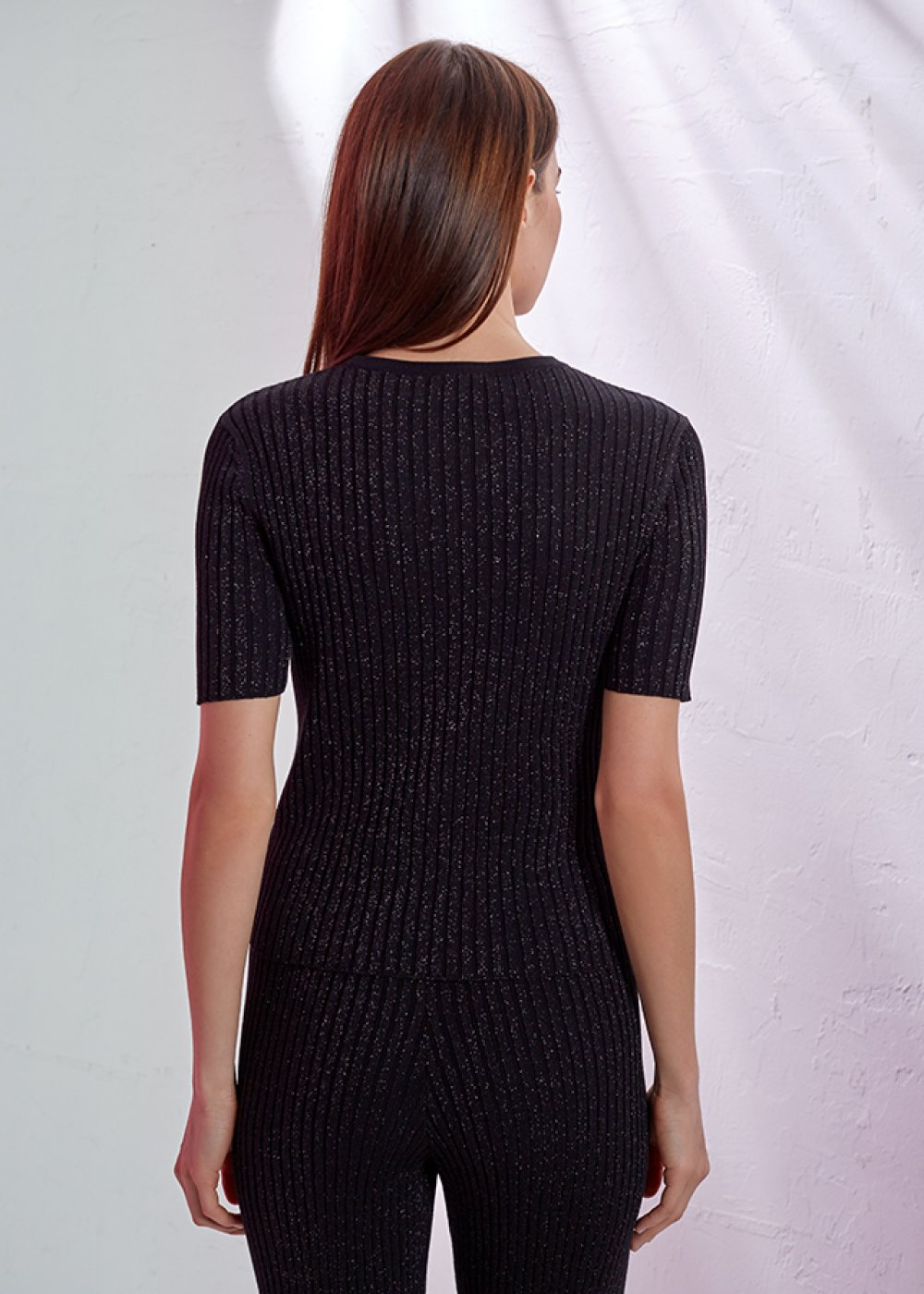 CREW NECK LUREX BLACK KNIT TOP