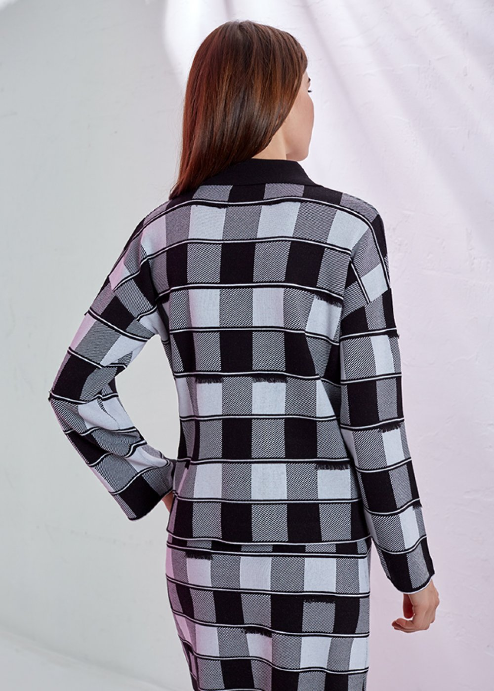 DAMA PATTERNED KNIT JACKET