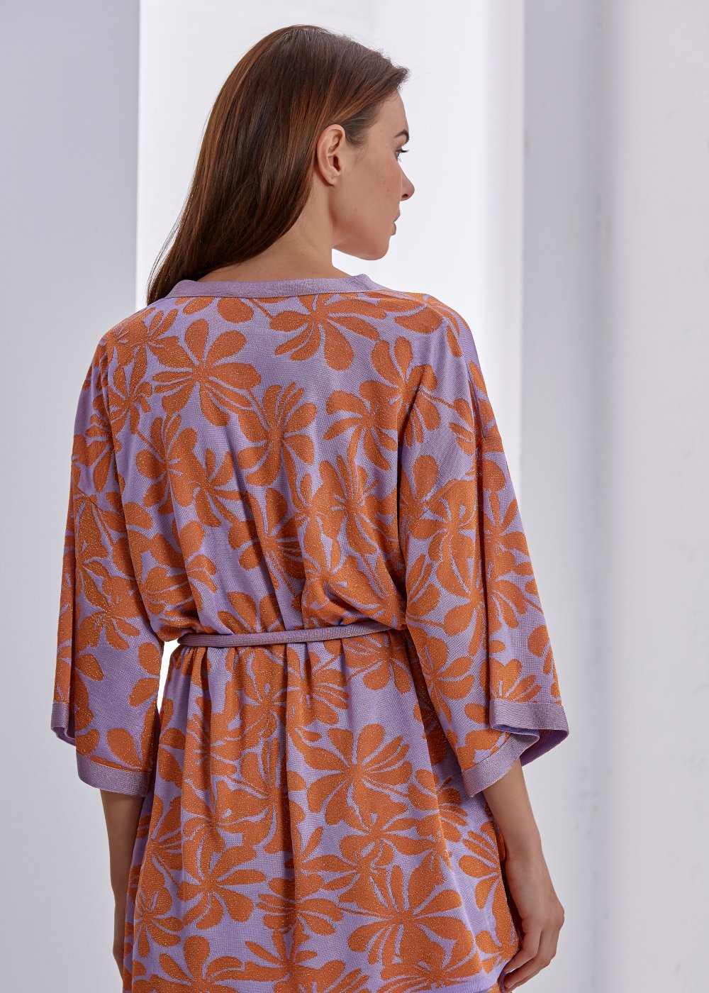 FLOWER PATTERNED LUREX KNIT KIMONO