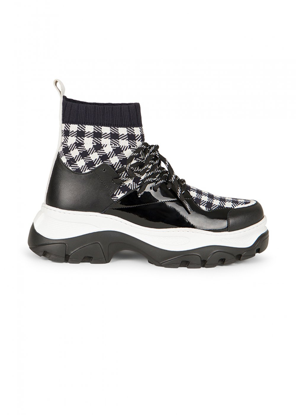 Checked Pattern Black Sneakers