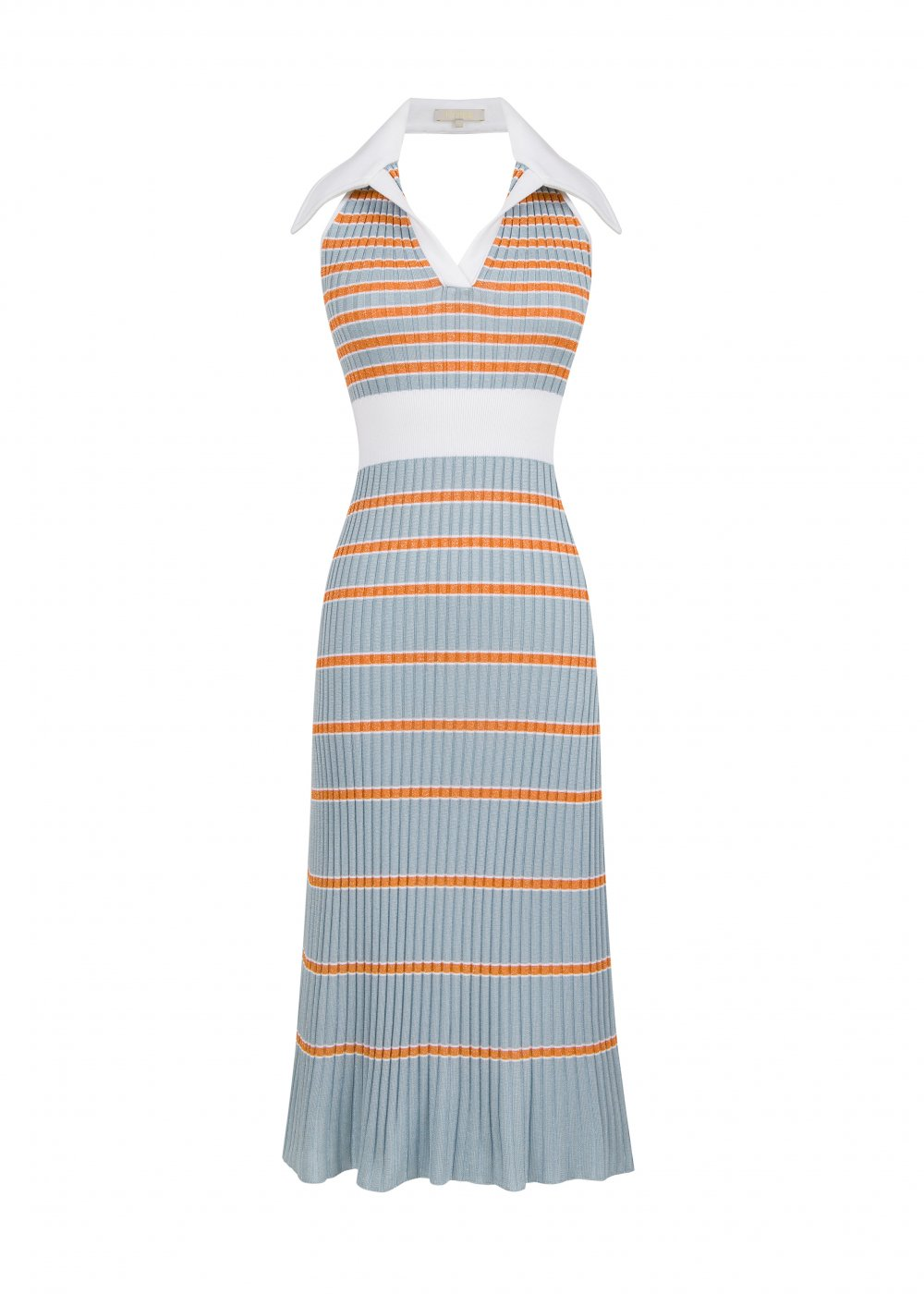 Blue Striped Open Back Knit Dress