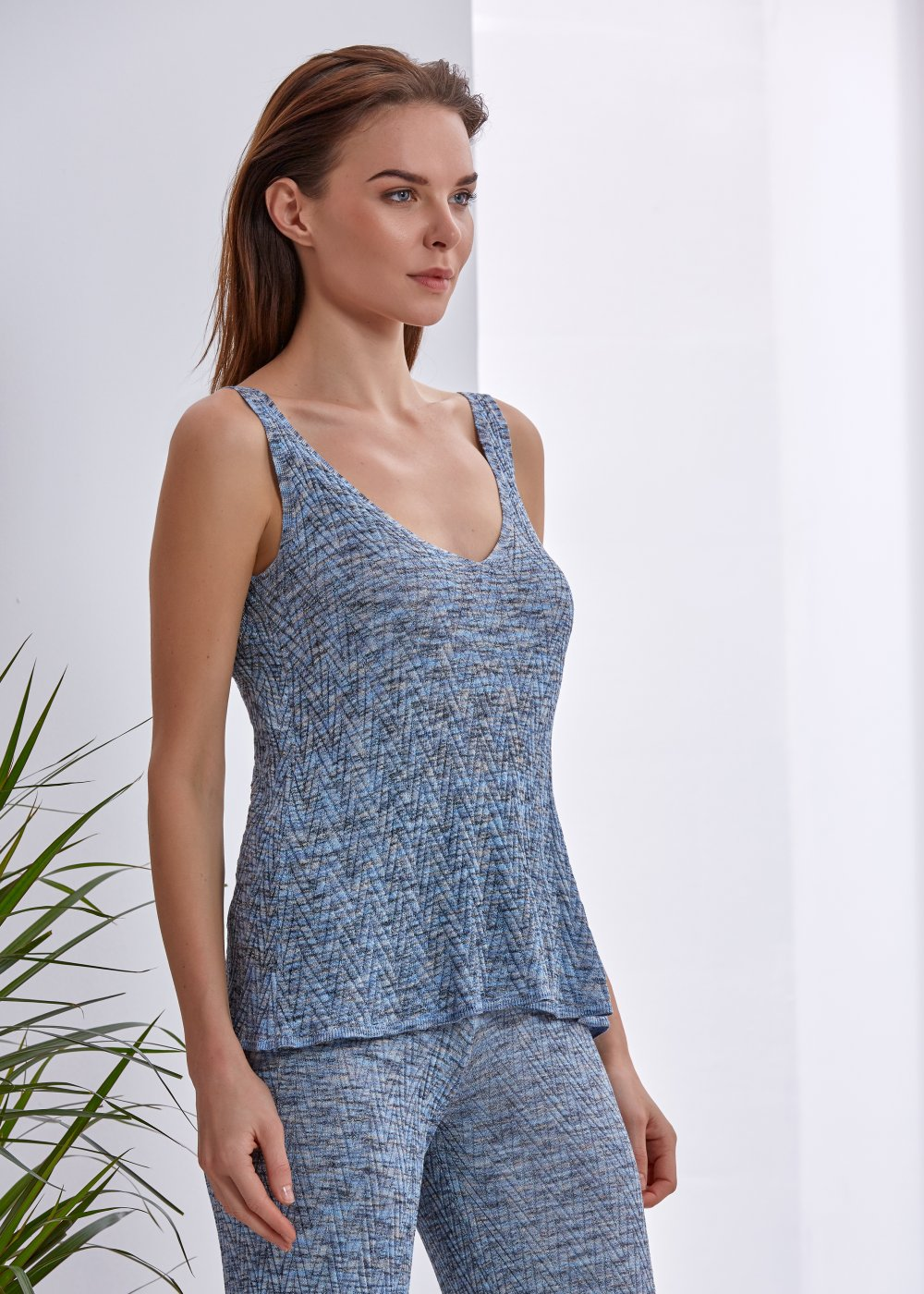 Blue Pattrerned Knit Top
