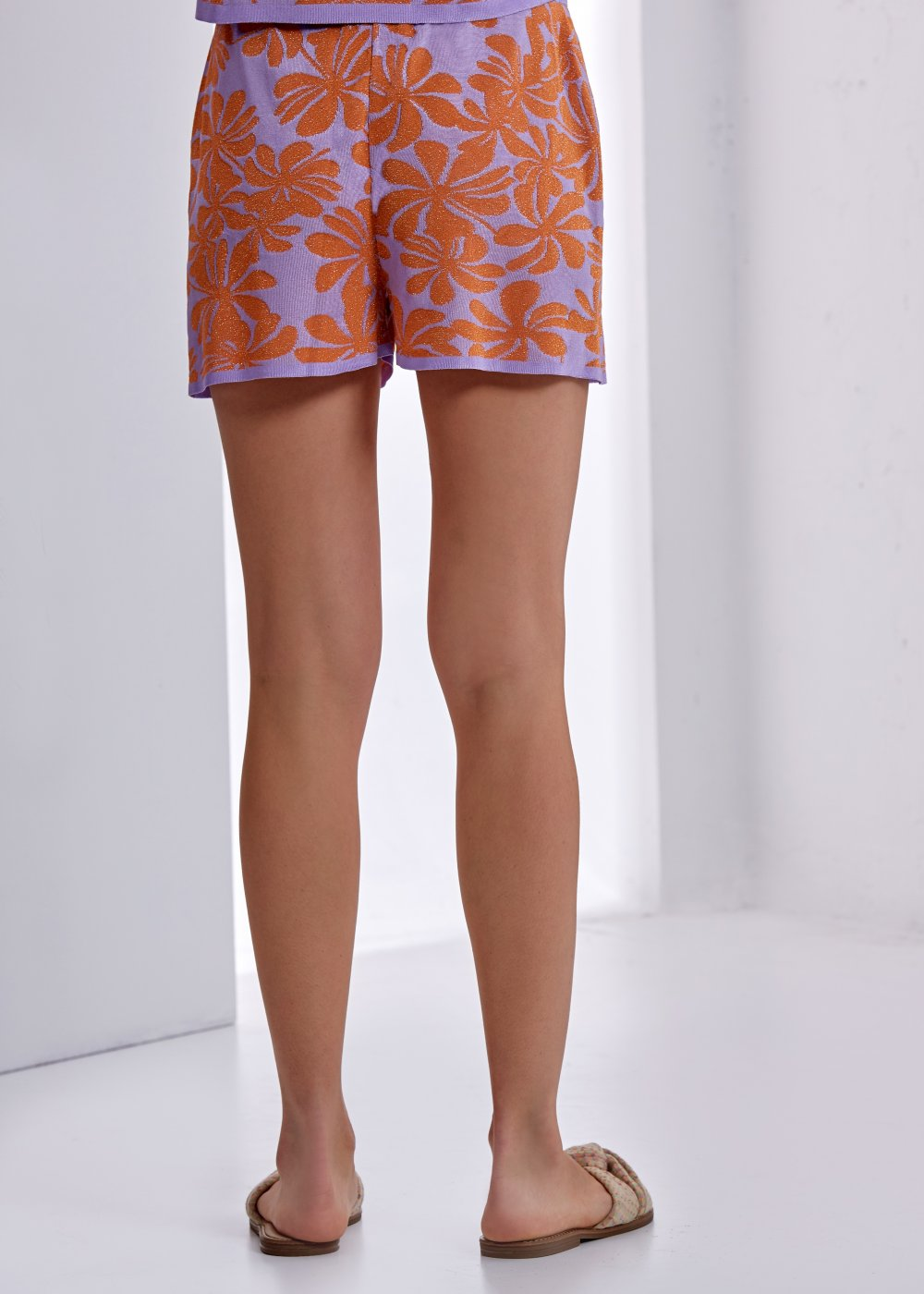 Patterned Multicolor Knit Short