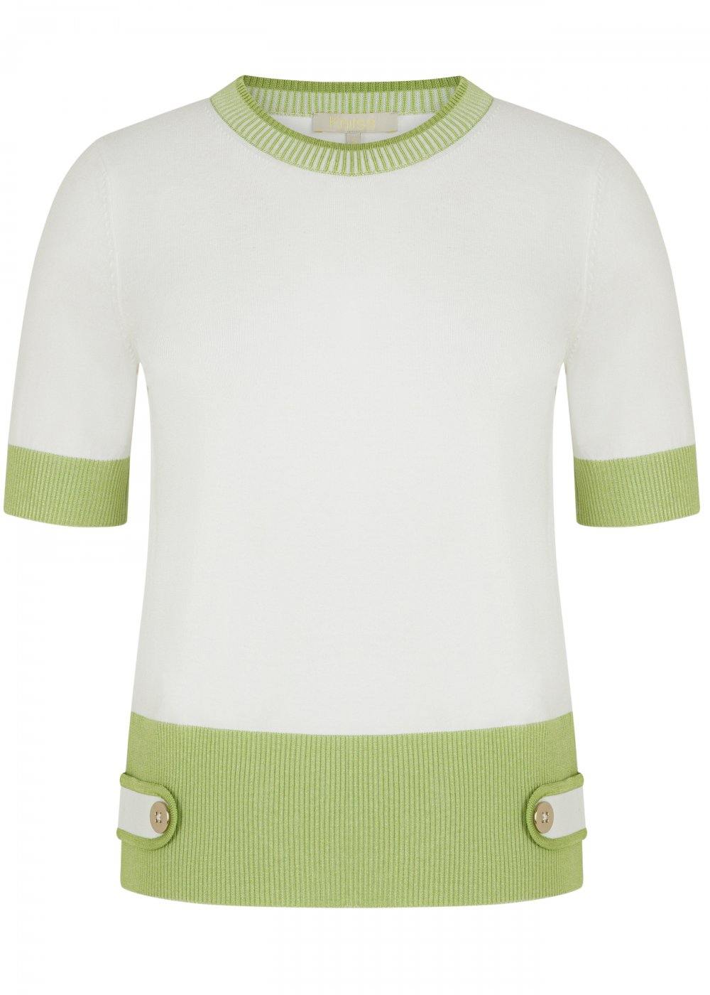 SHORT SLEEVE CREW NECK WHITE KNIT TOP