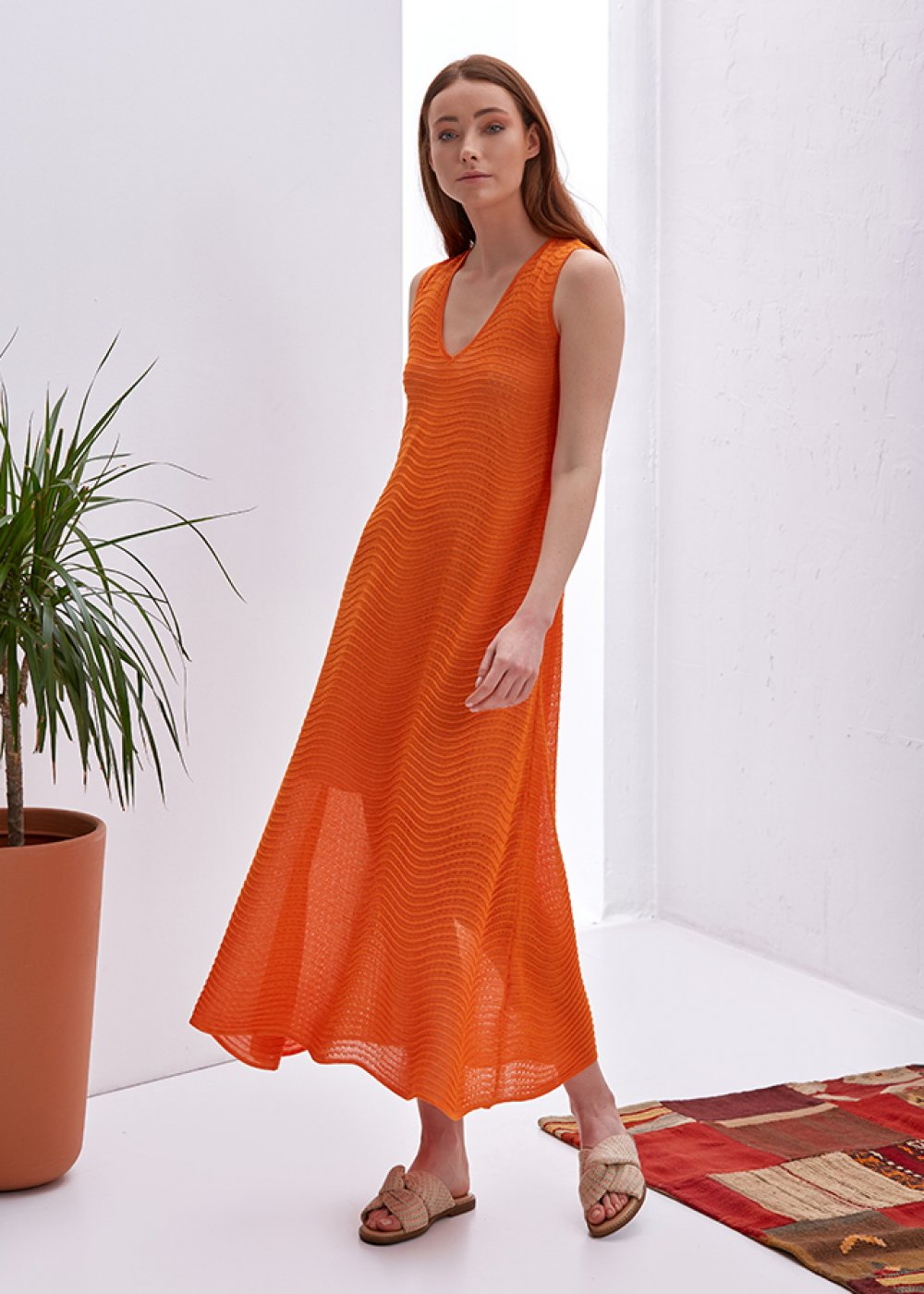 V Neck Sleeveless Orange Knit Dress