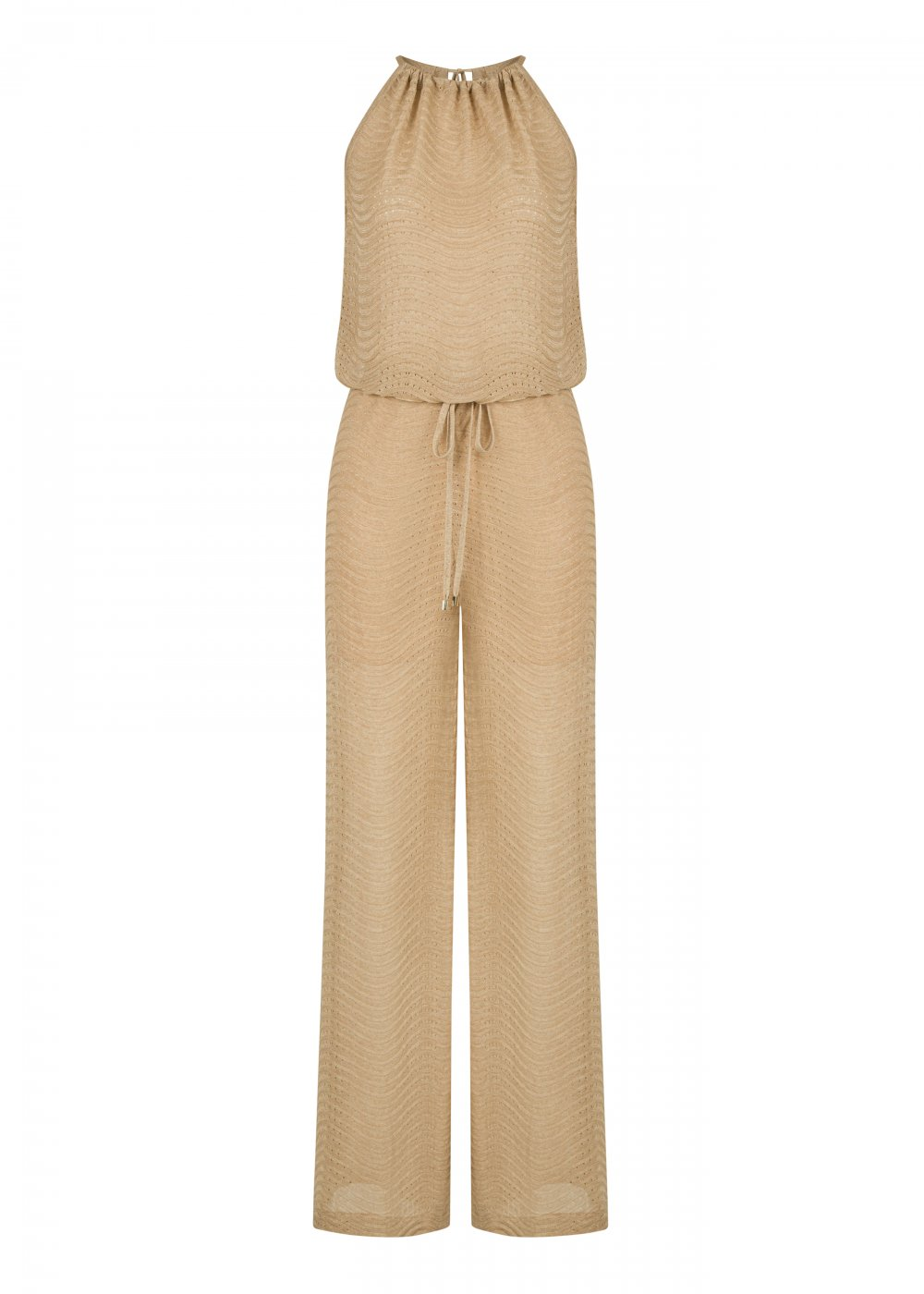 Tie Neck Beige Knit Jumpsuit