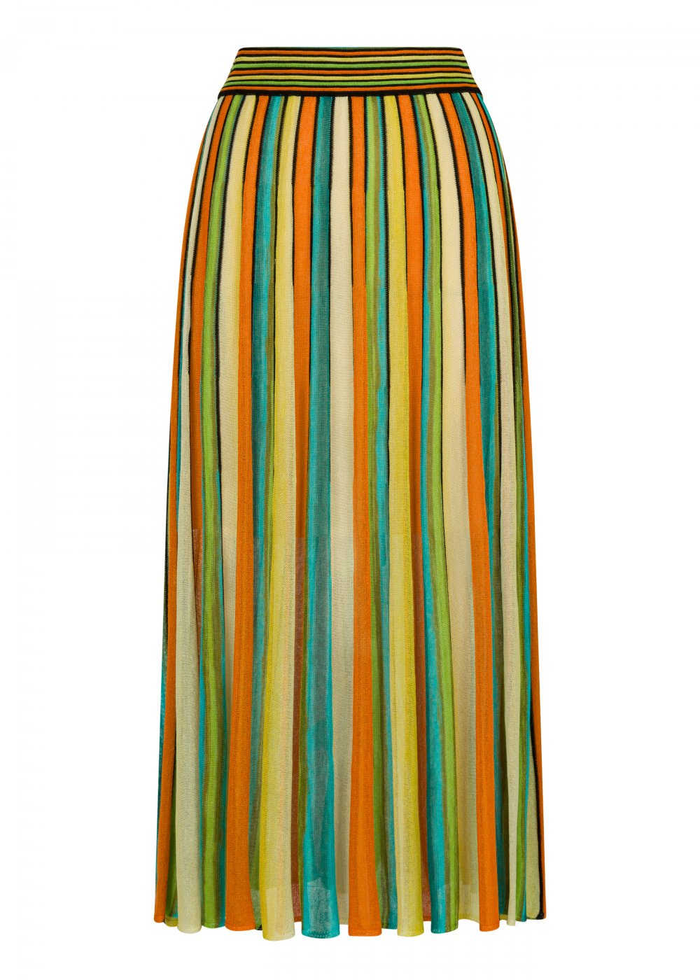 Pleated Multicolor Knit Skirt