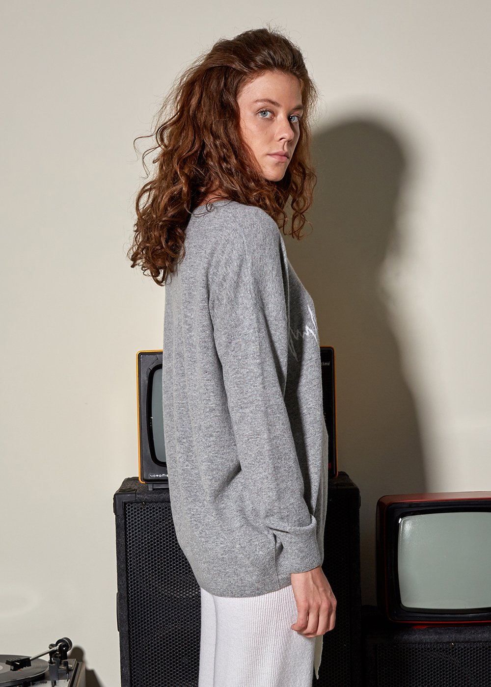 Heart Patterned Wool Cashmere Blend Gray Sweater