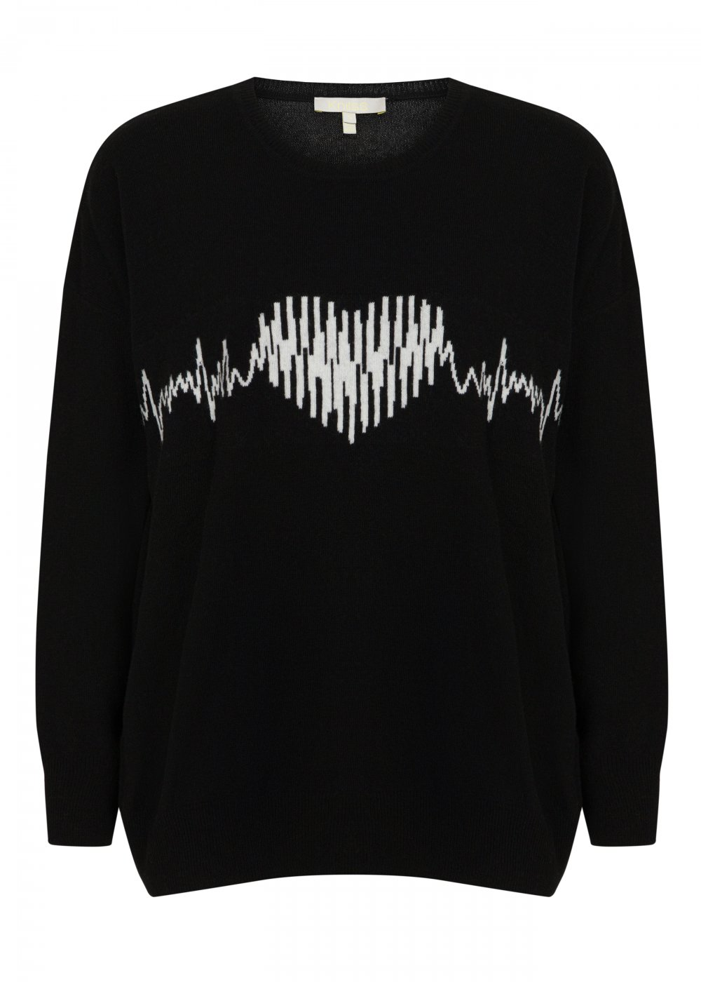 Heart Patterned Wool Cashmere Blend Black Sweater