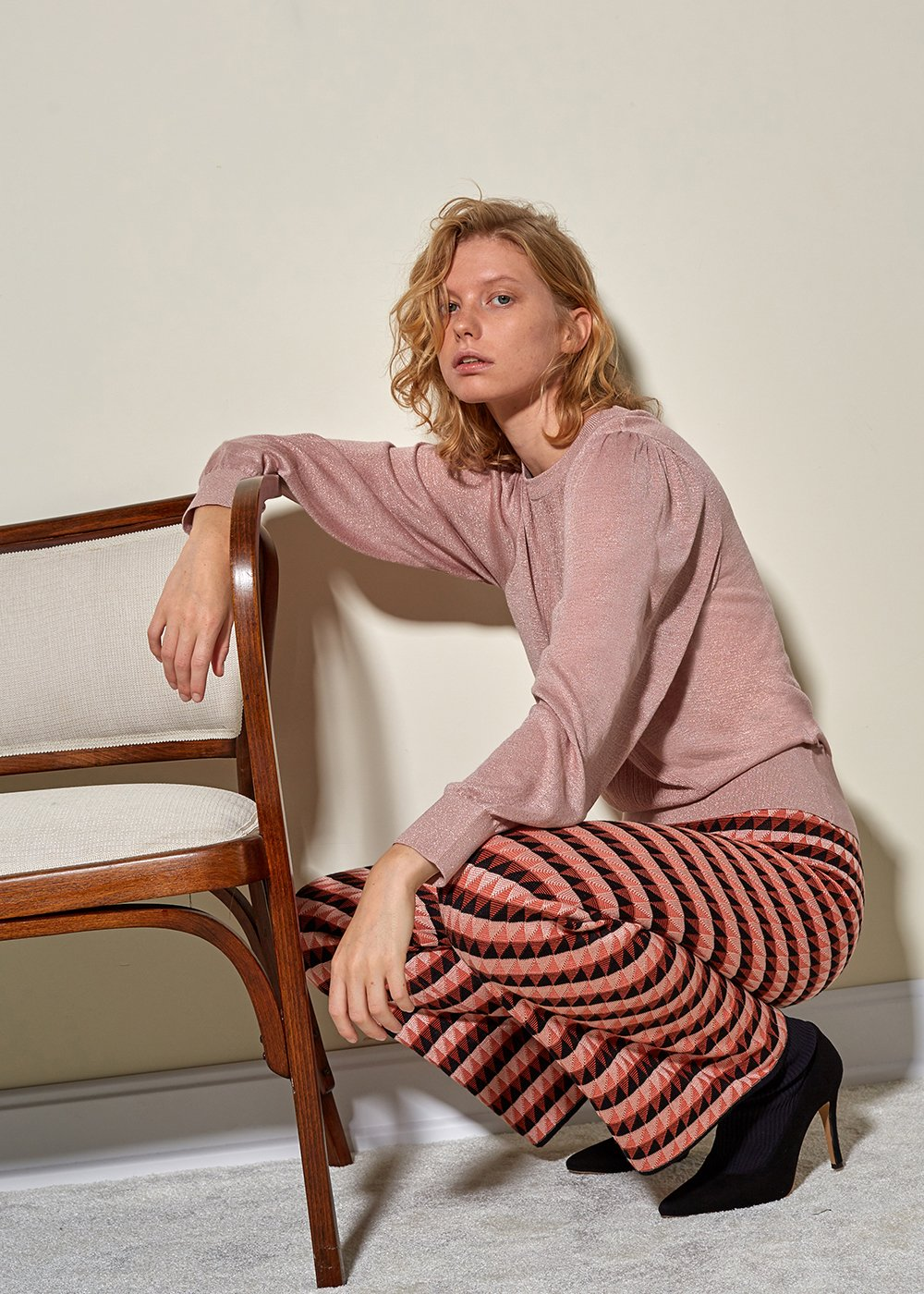 Striped Pink Knit Top