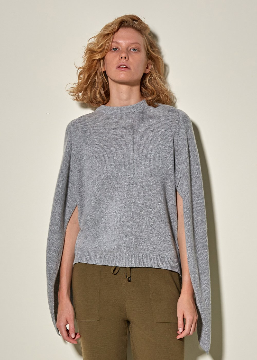 Wool Cashmere Blend Gray Knit Sweater