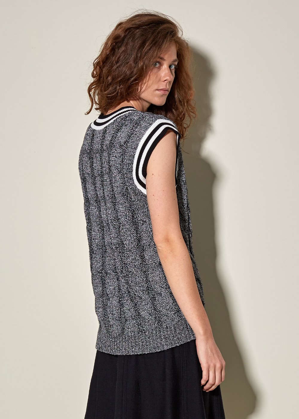 Cable Knit Gray Wool Vest