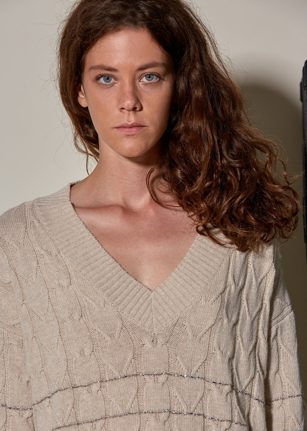 Loose Fit Wool Cashmere Blend Cable Knit Beige Sweater