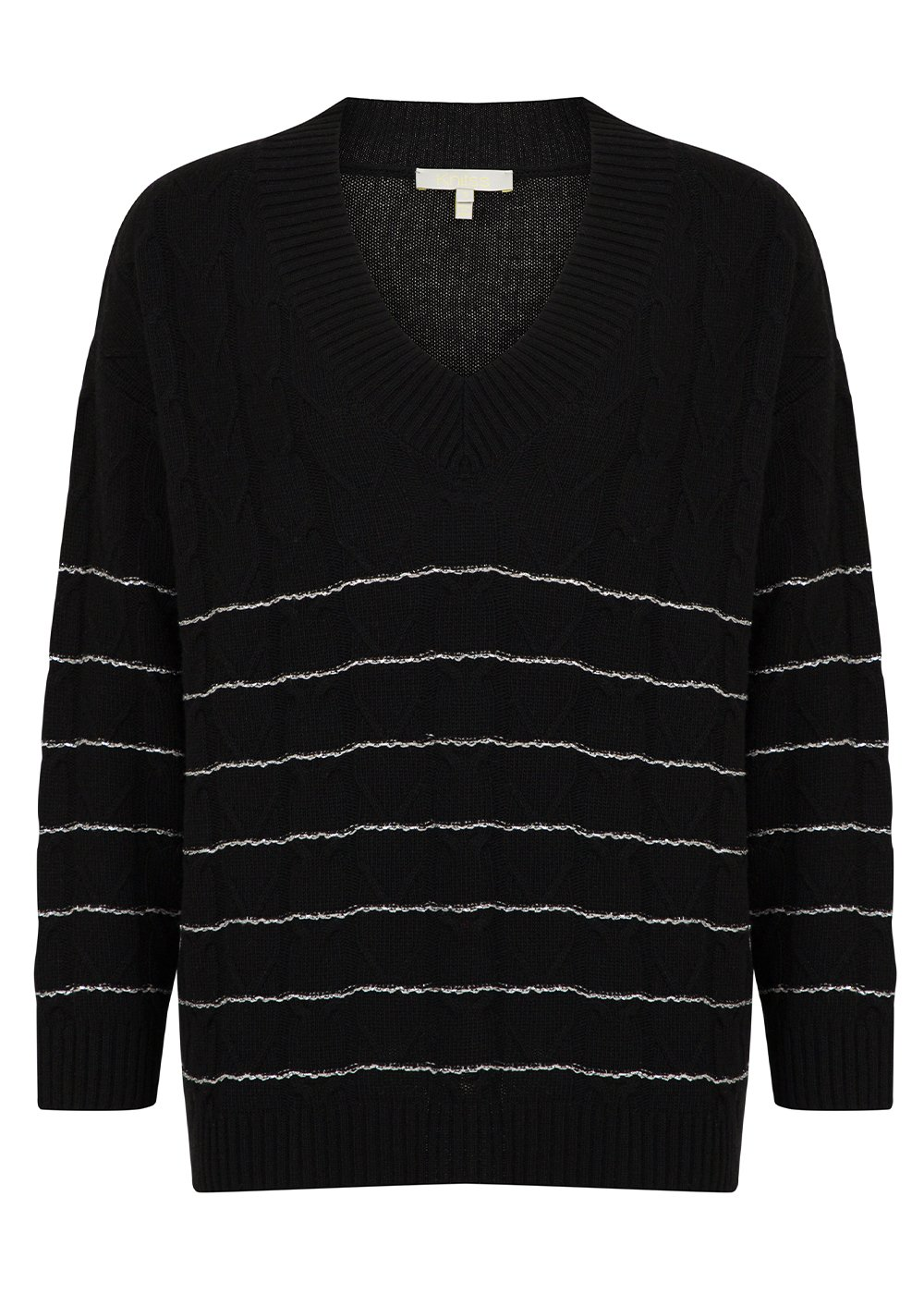 Loose Fit Wool Cashmere Blend Cable Knit Black Sweater