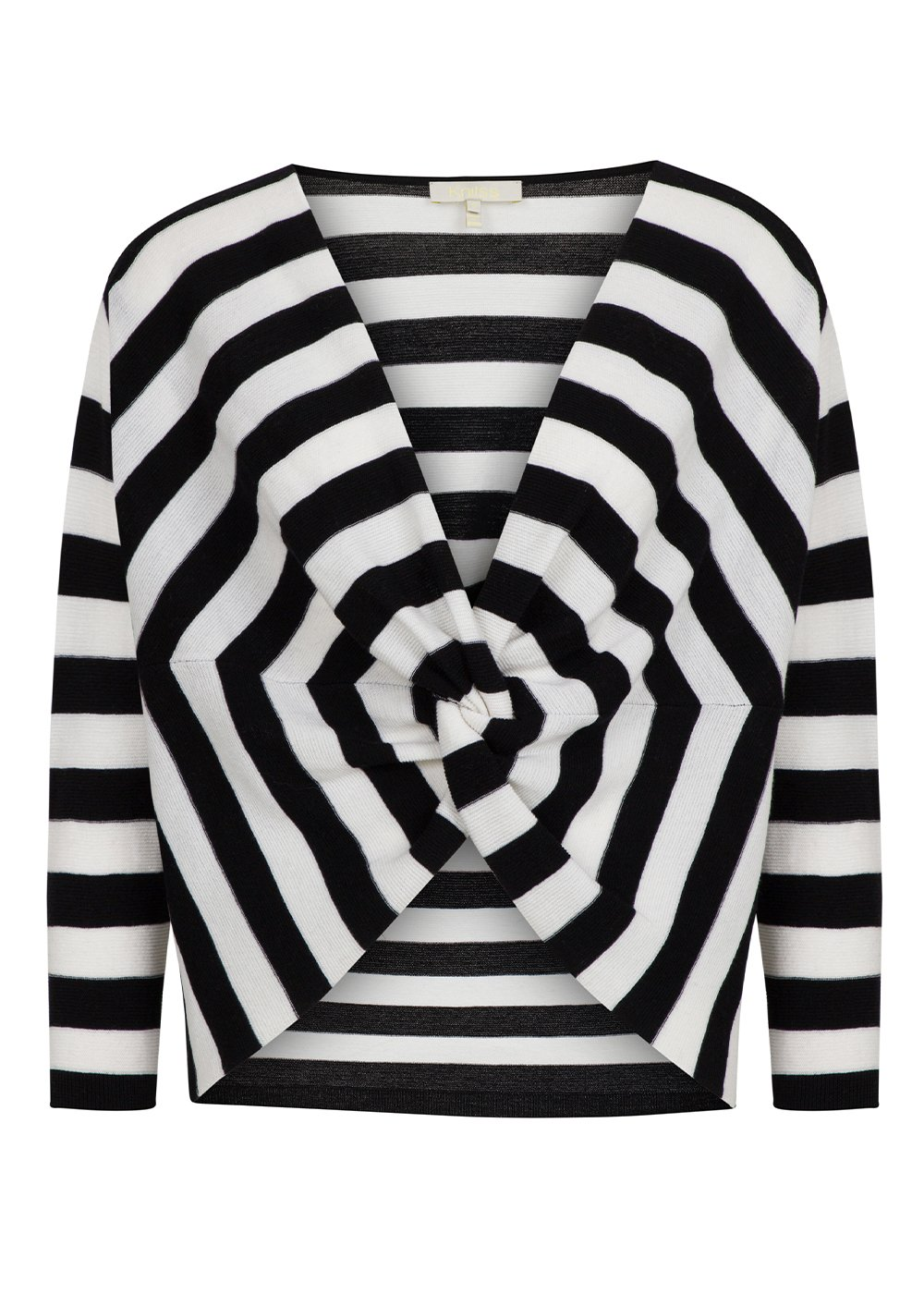 V Collar Pure Wool Black White Knit Sweater