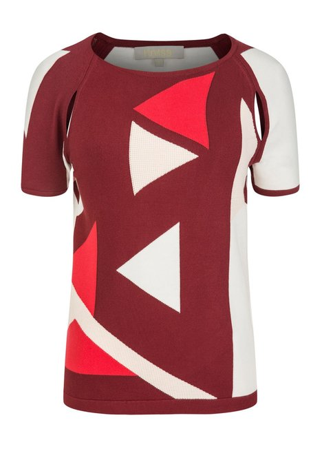 BURGUNDY GRAPHIC PATTERN KNIT TOP