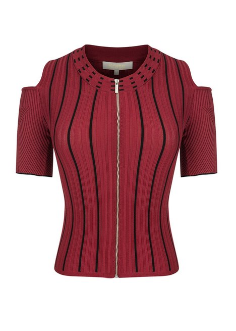 CUT OUT CROPPED BURGUNDY KNIT TOP