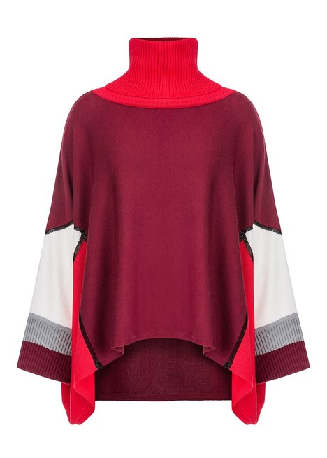 COLOR BLOCKED BURGUNDY PINK KNIT PONCHO