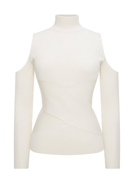 CROSS CUT SHOULDER ECRU RIB KNIT SWEATER