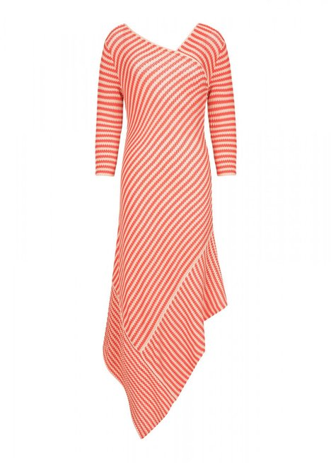 Asymetric Long Sleeve Striped Red Knit Dress