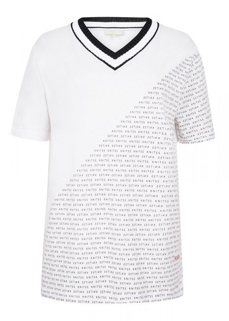 Half Sleeve Cotton V Neck White T-Shirt