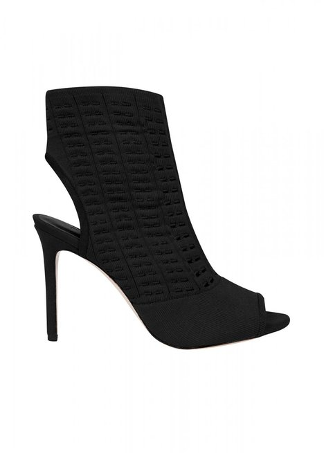 HIGHT HEELS OPEN TOE BLACK KNIT BOOTIE
