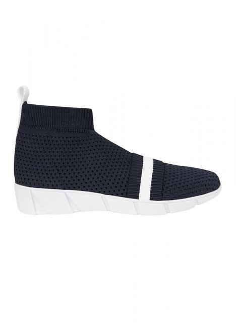 Striped Band Navy Blue Knit Sneakers