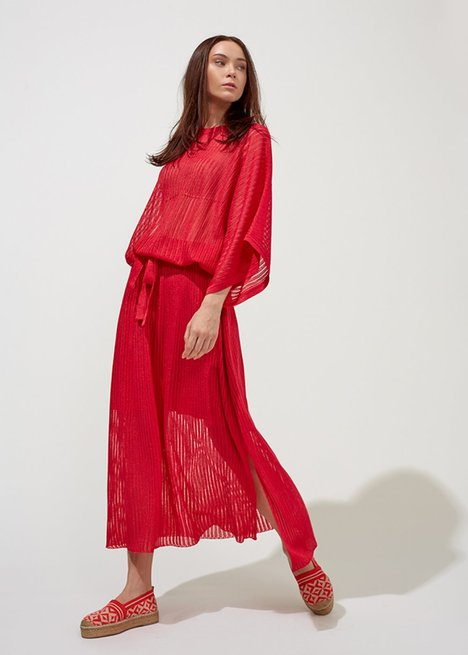 OVERSIZE RED KNIT TOP