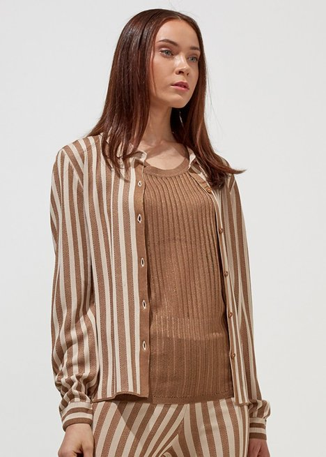 STRIPED BEIGE KNITTED SHIRT