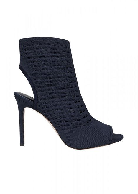 HIGHT HEELS OPEN TOE NAVY KNIT BOOTIE