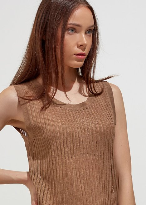 SLEEVELESS RIBBED HERB GREEN TOP