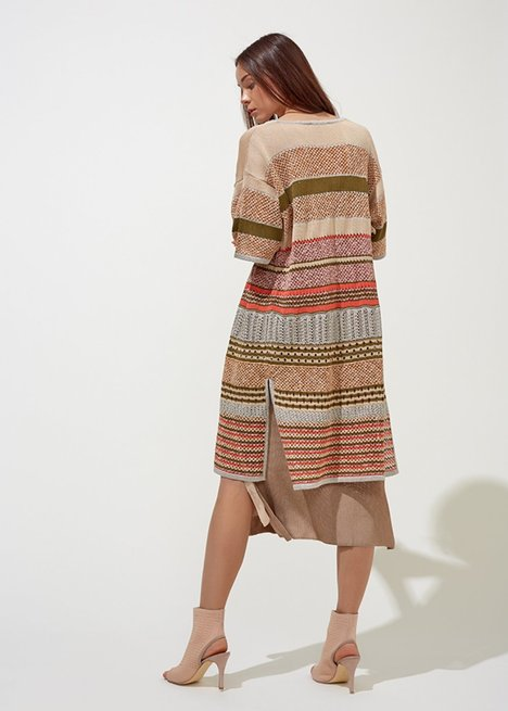 STRIPE PATTERNED SAND KNITTED CARDIGAN