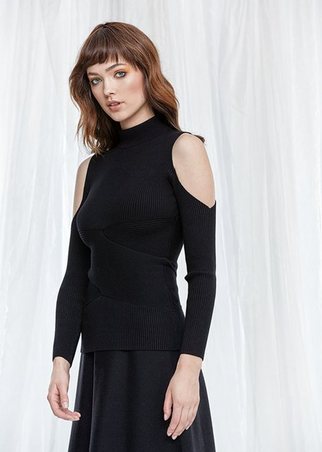 Cut Out Shoulder Ribbed Black Knit Top
