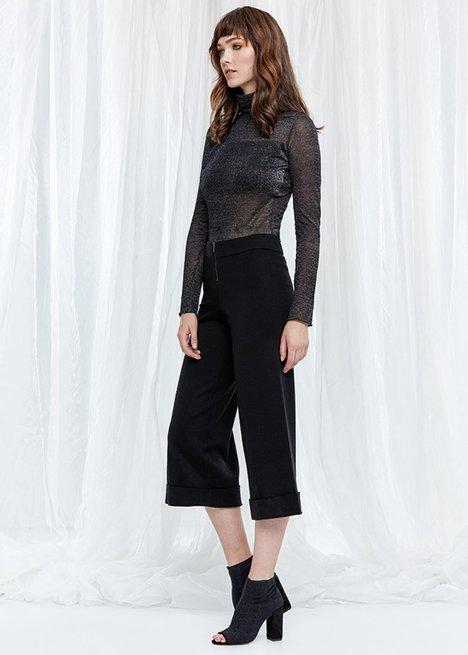 Wide Leg Black Knit Trousers