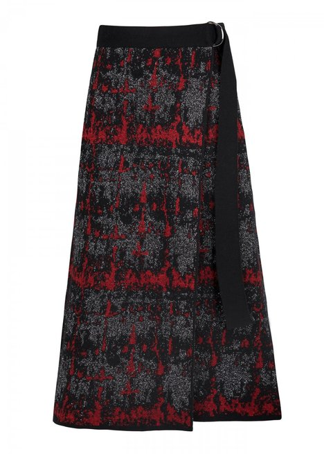 Wool Blend Maxi Black Knit Skirt