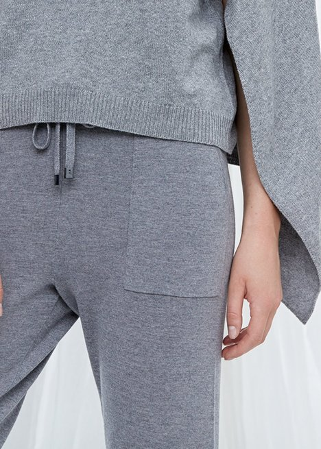Pure Wool Grey Knit Trousers