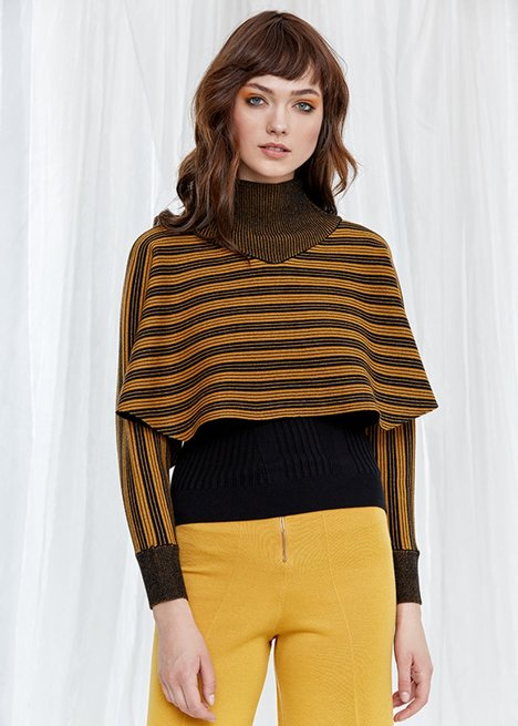 Long Sleeve Turtleneck Amber Black Striped Knit Top