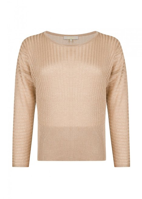 Crew Neck Beige Knitwear Top